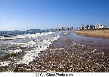rivage, durban, océan, plage, hôtels
