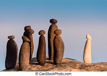 rivage, figurines, symbolique