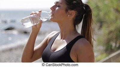 rivage, fitness, sportive, après, eau, boire