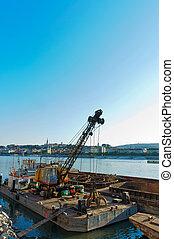 rivage, industriel, bateau