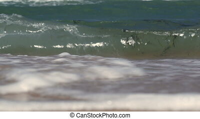 rivage, lavage, mer, vagues