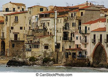 rivage, maisons, sicile, cefalu, fond, cathédrale, long