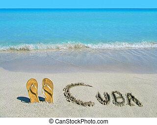 rivage, or, cuba, exotique, sandales, plage