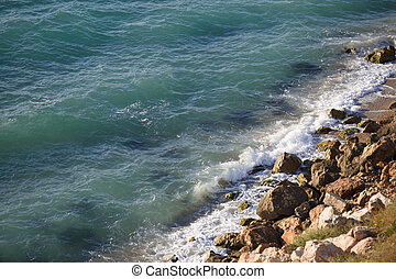 rivage rocheux, noir, pur, sauvage, plage, mer