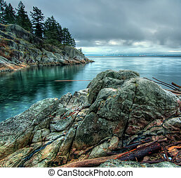 rivage, tonalité fraîche, long, rochers