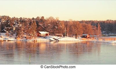 rivages, scandinave, hiver, matin