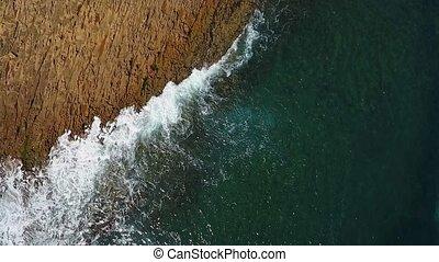 rivages, vidéo, facilement, ocean., mouvement, aérien, ...
