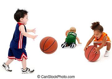 rival, bebé, equipos, con, baloncestos, en, uniforme
