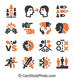 rival icon set - rival,enemy icon set,vector and...