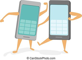 Rival mobile phones battling a technology fight - Cartoon ...