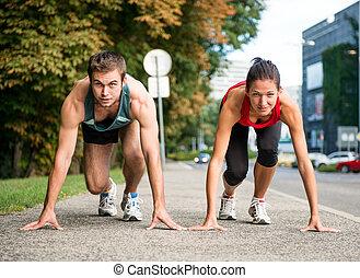 rivalidad, -, pareja joven, competir, en, corriente
