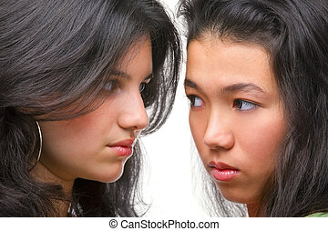 Rivalry between females - Hostility shown between these two...