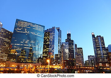 rive, chicago, usa, en ville, crépuscule, /