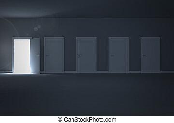 rivelare, luce, porta, apertura