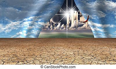 rivelare, terre, cielo, sbuccia, altro, aperto, deserto