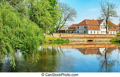 River Aleksupite in the town Kuldiga, Latvia