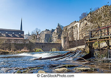 River Alzette and the fortification in Luxembourg on a ...