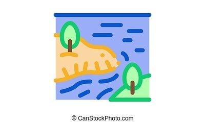 river among mountains Icon Animation. color river among mountains animated icon on white background
