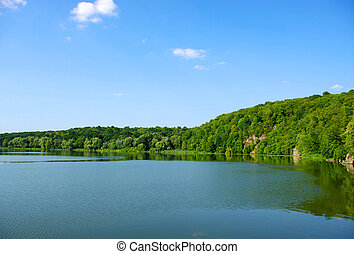 river and blue sky in summer