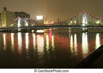 River and bridge at night