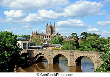 View of the Cathedral, the Wye Bridge and the River Wye, Hereford, Herefordshire, England, UK, Western Europe.