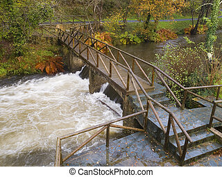 River and gangway in the nature.