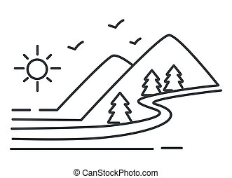 Landscape mountains and river, forest and hills, valley outline sketch vector. Wild nature, rocks and trees, water and sun in sky, view or scene lineart drawing. Travel, hiking and summer adventure