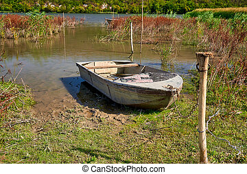 River And Old Metal Blue Rowing Fishing Boat