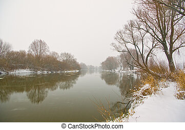 River and trees covered with snow
