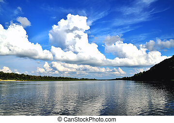 river and white clouds in the blue sky