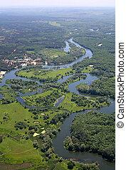 river., antenne, udsigter.
