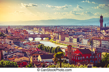 River arno in florence with bridge ponte vecchio - River...