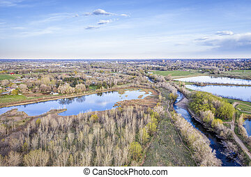 river at Colorado foothills aerial view