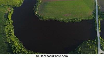 River at morning Birds eye view - River at morning aerial...