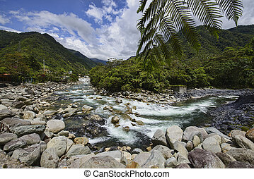 River at the Pailon Del Diablo waterfall, Banos de Agua Santa, Ecuador