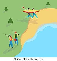 river., attivo, coppia, kayak., carattere, persone