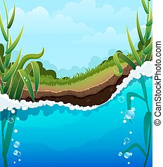 Foaming river wave and aquatic plants. Air bubbles in the clear water. Shore, forest and blue sky with transparent clouds In the background
