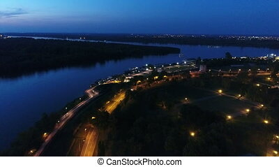 River bank night aerial 1 - River Sava bank 25 maj night...