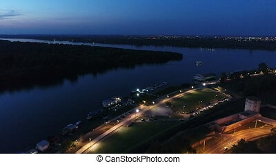 River bank night aerial 2 - River Sava bank 25 maj night...