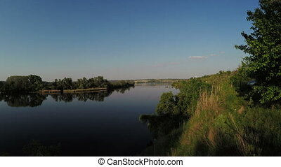 River bank - Panorama Dnieper River and tower power on other...