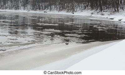 river bank snow floe - Panorama of forest river bank covered...