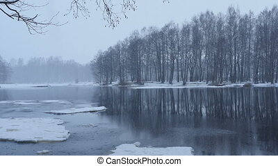 river bank winter landscape panorama - river bank winter ...