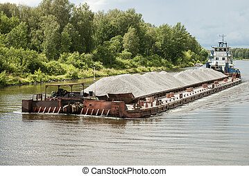 River barge in Moscow canal, Russia. Taken on July 2012.