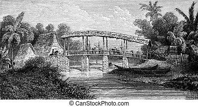 River Batour-Mera, Ambon, vintage engraving. - River Batour-...