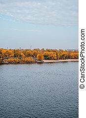 River beach in fall