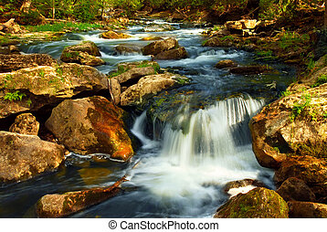 Beautiful landscape of a river cascading over rocks in wilderness