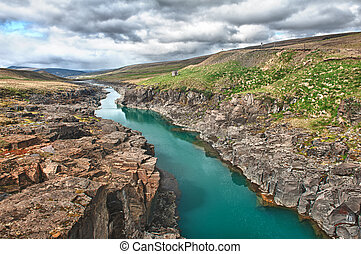River - Beautiful turquoise glacial river in a canyon,...