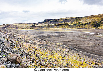 river bed from Solheimajokull glacier in Iceland