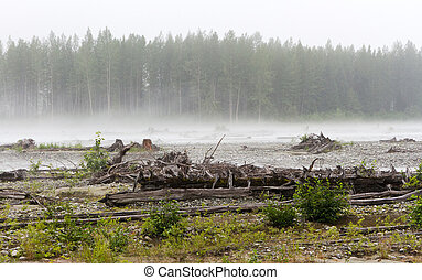 River bed Landscape in a hazy day