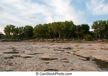 Low water levels of the Ohio River reveal a fossil bed in Clarskville, Indiana.